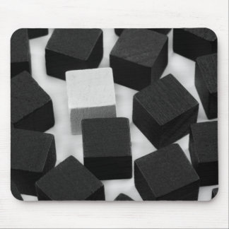 white cube in many black cubes mouse mat