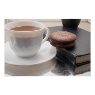 White cup of hot chocolate and cookies poster