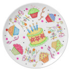 White Cupcakes and Cake Happy Birthday Plate