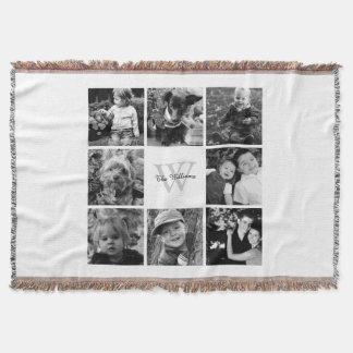 White Custom Family Photo Collage Throw Blanket