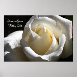 White Cut Rose Wedding Keepsake Poster