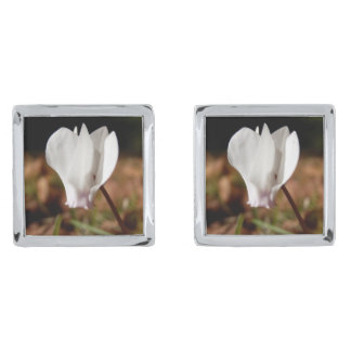 White Cyclamen Cufflinks Silver Finish Cufflinks