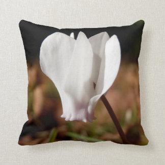White Cyclamen Throw Cushion