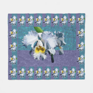 White Cymbidium Orchid Fleece Blanket