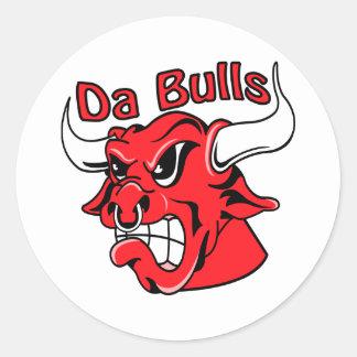 White  Da Bulls Round Sticker