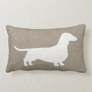White Dachshund Silhouette Faux Linen Burlap Style Lumbar Cushion