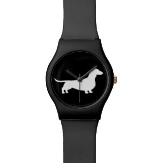 White Dachshund Silhouette Watch