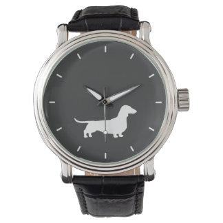 White Dachshund Silhouette Watches