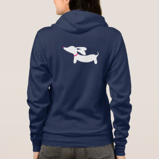 White Dachshund Silhouette with Pink Collar Hoodie