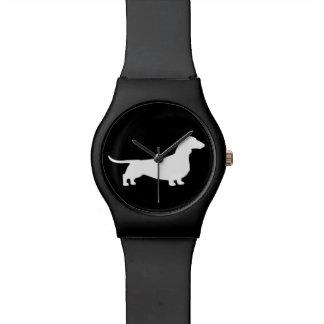 White Dachshund Silhouette Wristwatches