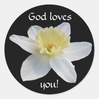 White Daffodil Classic Round Sticker