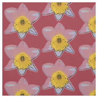 White Daffodil Fabric (Burgundy)