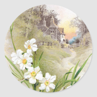 White Daffodils Vintage Easter Classic Round Sticker