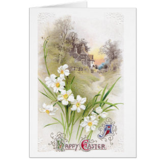 White Daffodils Vintage Easter Greeting Card