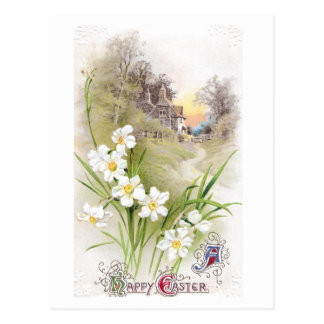 White Daffodils Vintage Easter Postcard