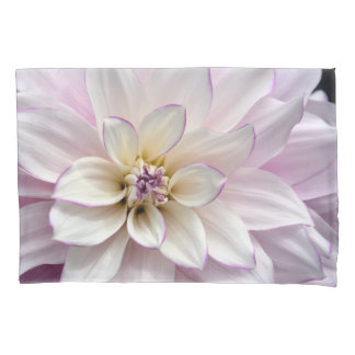 White dahlia flower pillowcase