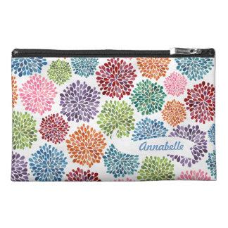 White Dahlia Flowers Designer Zippered Name Bag! Travel Accessory Bag
