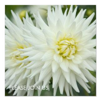 """White Dahlia 5.25"""" Square Invitation Card"""