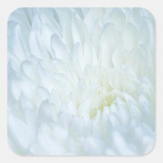 White Dahlia Petals Square Sticker
