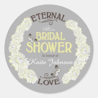 White Dahlia Wreath Modern Bridal Shower Label Round Stickers