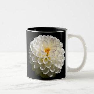 White Dahlias Two-Tone Coffee Mug