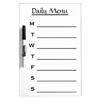 White Daily Menu Weekly Menu Dry-Erase Boards