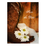 White Daisies and Boots Wedding Save the Date Post Card