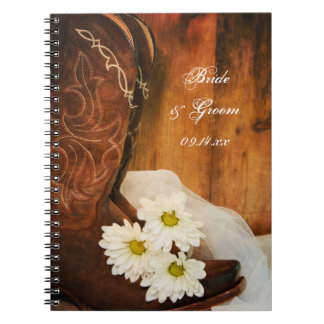 White Daisies and Cowboy Boots Country Wedding Spiral Notebook