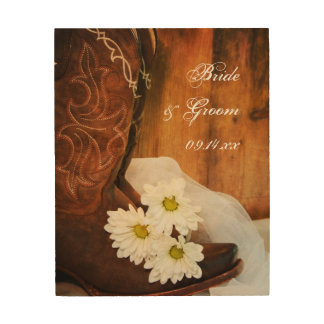 White Daisies and Cowboy Boots Western Wedding Wood Wall Art