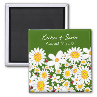 White Daisies and Ladybugs Gift / Save Date Magnet