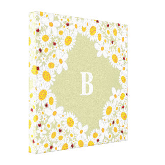 White Daisies and Ladybugs Girl Nursery Canvas Art