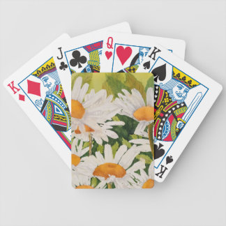 White Daisies Bicycle Playing Cards