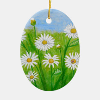 white daisies christmas ornament