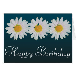 White Daisies Colourful Photo Happy Birthday Cards