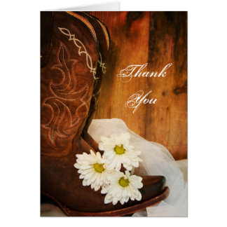 White Daisies Cowboy Boots Bridesmaid Thank You Card