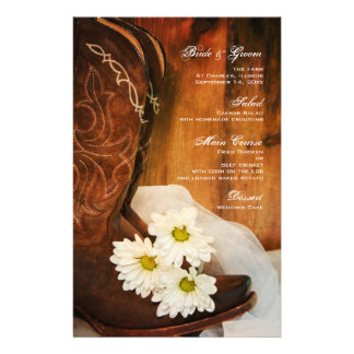 White Daisies Cowboy Boots Country Western Wedding Stationery Paper