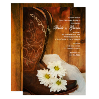 White Daisies Cowboy Boots Post Wedding Brunch Card