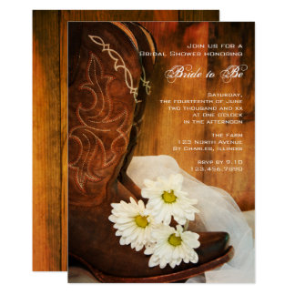 White Daisies Cowboy Boots Western Bridal Shower 13 Cm X 18 Cm Invitation Card