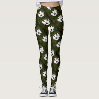 White Daisies design pattern leggings