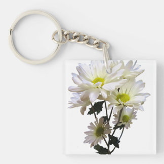 White Daisies Double-Sided Square Acrylic Key Ring