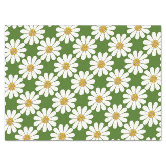 White Daisies floral Tissue Paper