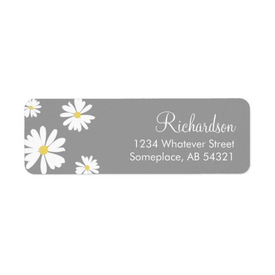 White Daisies Flowers Grey Background Labels