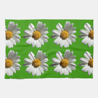 white daisies flowers pattern on green tea towel