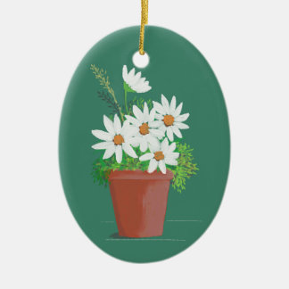 White Daisies in Terra Cotta Watercolor Painting Ceramic Oval Decoration