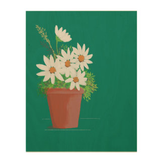 White Daisies in Terra Cotta Watercolor Painting Wood Canvas