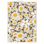 White Daisies & Ladybugs Custom Invitation Card