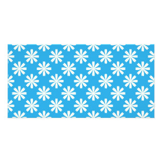 White daisies on baby blue background personalized photo card