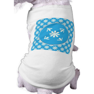 White daisies on baby blue background sleeveless dog shirt