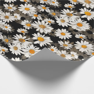 White Daisies on Black Wrapping Paper