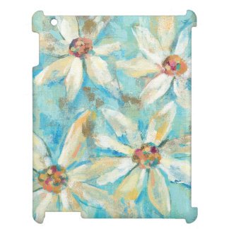 White Daisies on Blue iPad Cover
